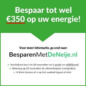 Meld je via De Neije Krant voor 24 november aan voor het Energie Collectief en krijg geheel vrijblijvend per mail de allerscherpste energietarieven.